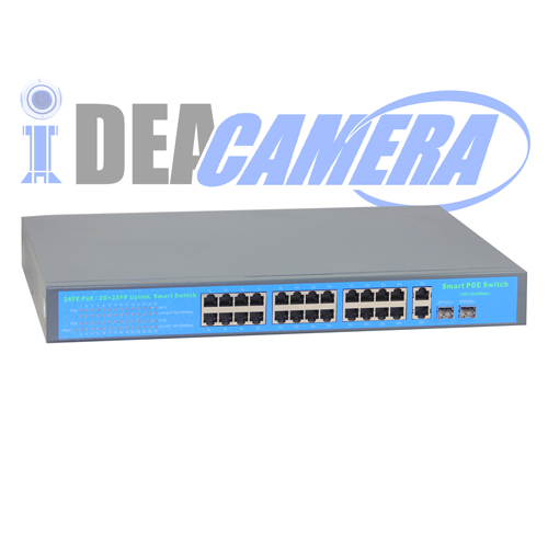 400W 24CH POE Switch,Power Supply for 24pcs IP camera,Internal Power