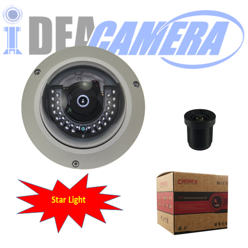Starlight Dome IP Camera with Audio In,H.265 1920*1080P,Inetrnal POE,VSS Mobule App,P2P